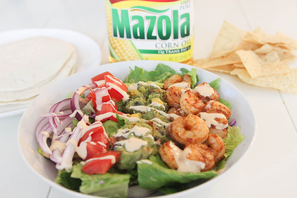 Mazola corn oil shrimp taco salad