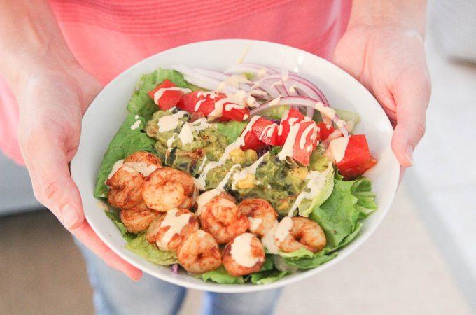 Mazola corn oil shrimp taco salad