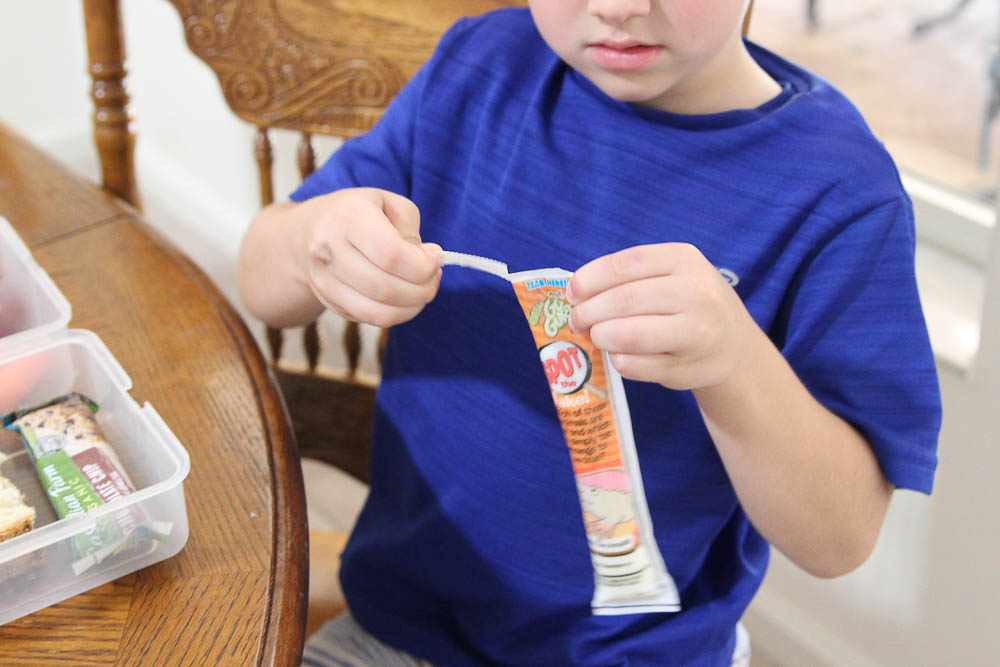 Back to school lunches are easy when kids can open their own yogurt. Robert opens gogurt