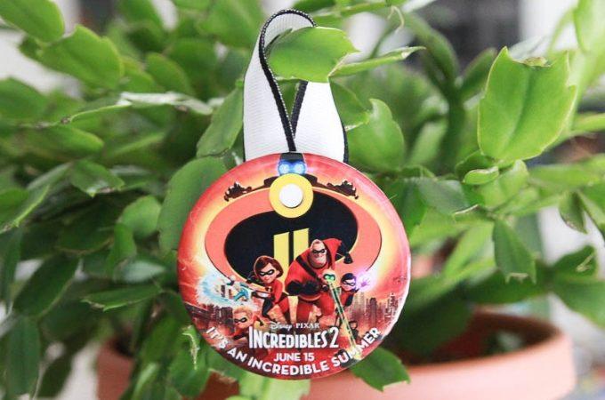 DIY Christmas ornament from Disney World celebration button