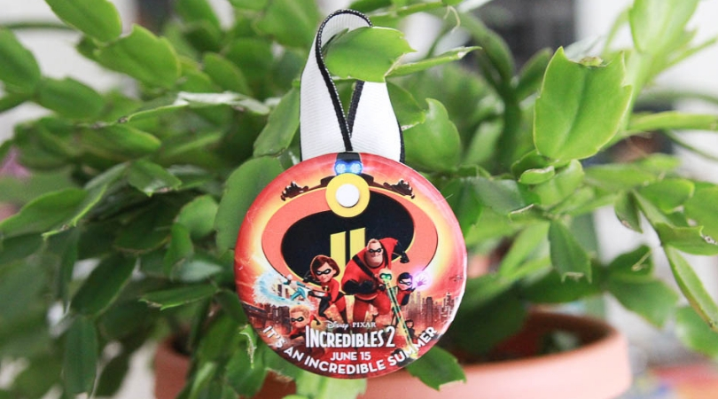 DIY Christmas ornament from Disney World celebration button