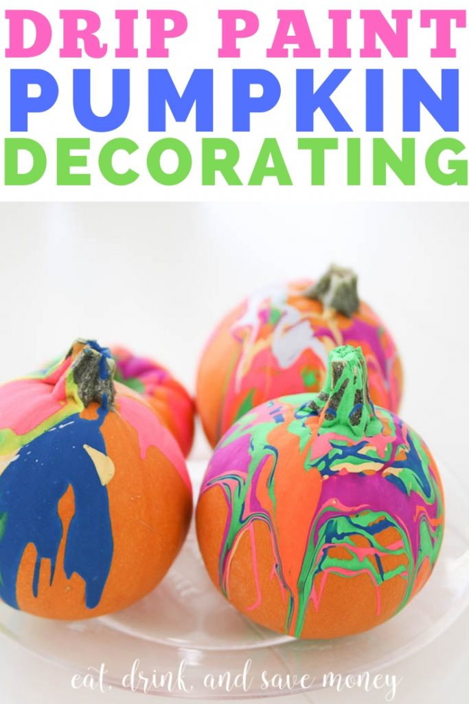 Drip Paint Pumpkin Decorating. Easy pumpkin decorating for kids. Easy pumpkin ideas for kids. Small pumpkin decorating ideas. #pumpkin #halloween #kids