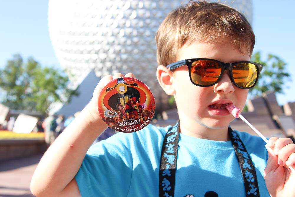 Robert with the Incredibles pin in Epcot