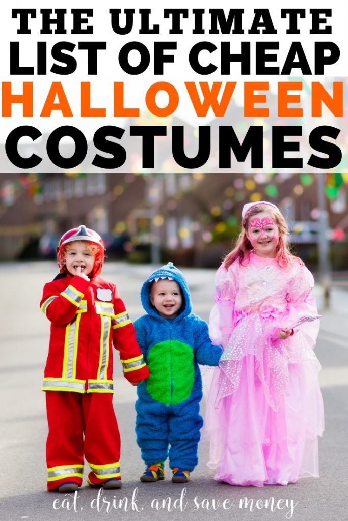 The ultimate list of cheap Halloween costumes. Where to buy cheap Halloween costumes and how to find good DIY Halloween costume ideas.