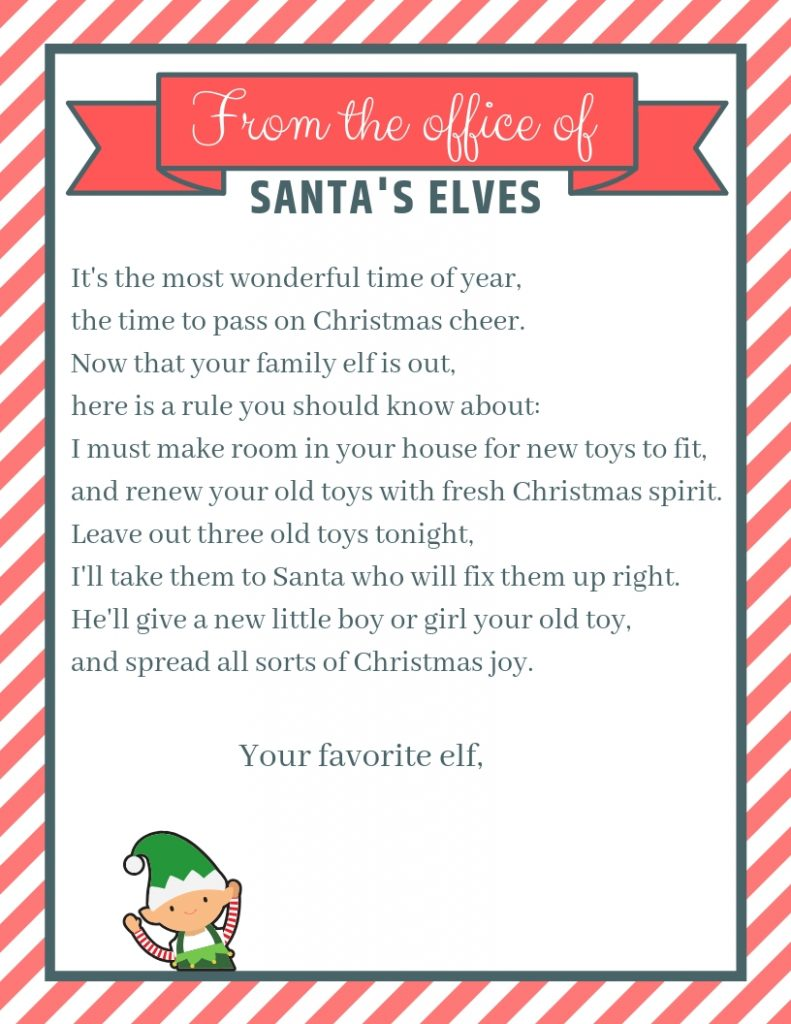 Elf on the Shelf Letter to convince kids to donate toys