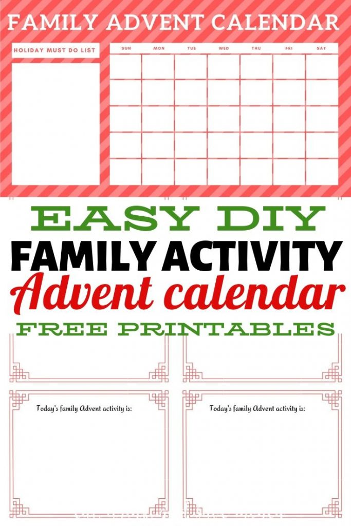 Printable family activity advent calendar