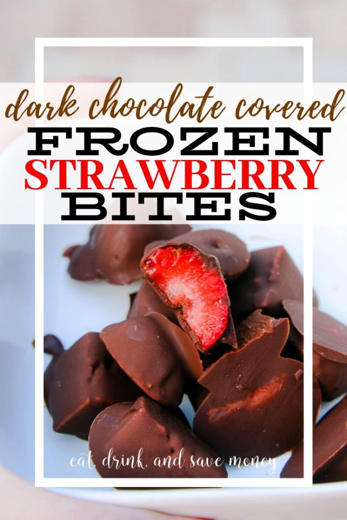 Dark chocolate covered frozen strawberry bites recipe.