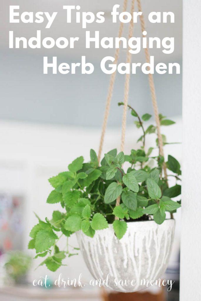 Easy tips for an indoor hanging herb garden. #herbs #gardening #herbgarden