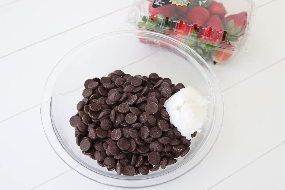 step two of making dark chocolate covered strawberry bites
