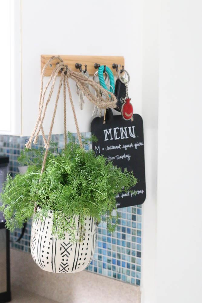 Hanging herb garden in kitchen