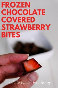 frozen chocolate covered strawberry bites. Dark chocolate strawberry bites