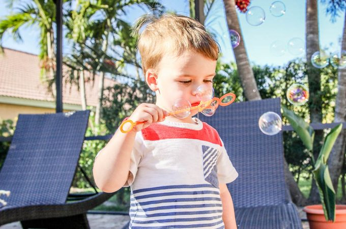 Jackson blowing bubbles