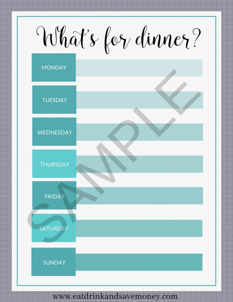 image relating to Printable Weekly Menu named Cost-free Printable Weekly Evening meal Planner - Try to eat, Consume, and Help you save Financial