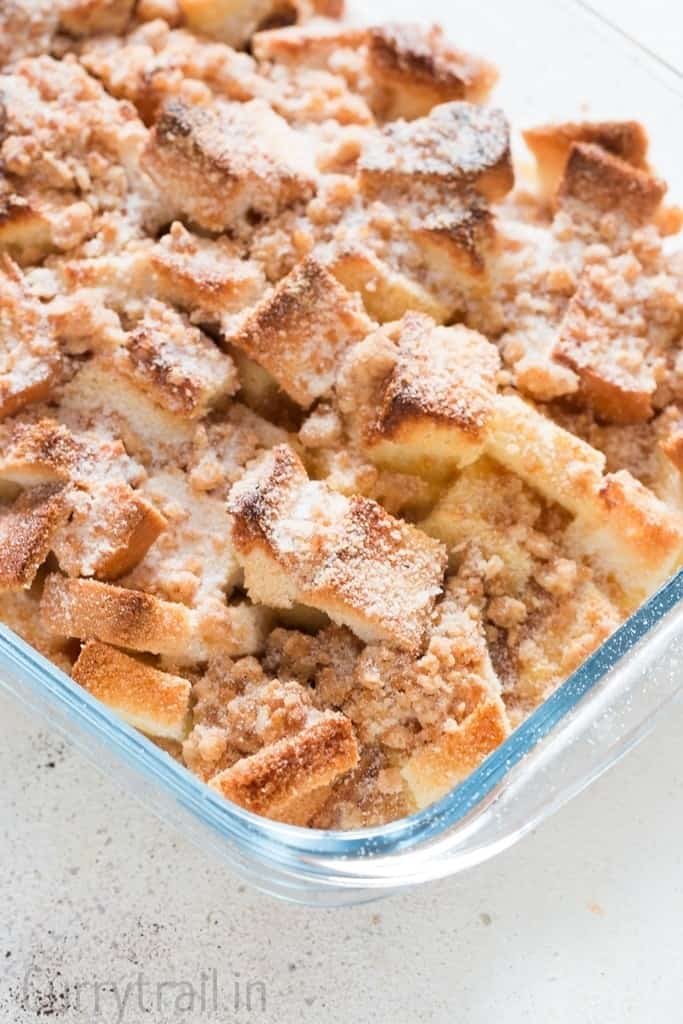 Overnight baked french toast casserole for Thanksgiving breakfast