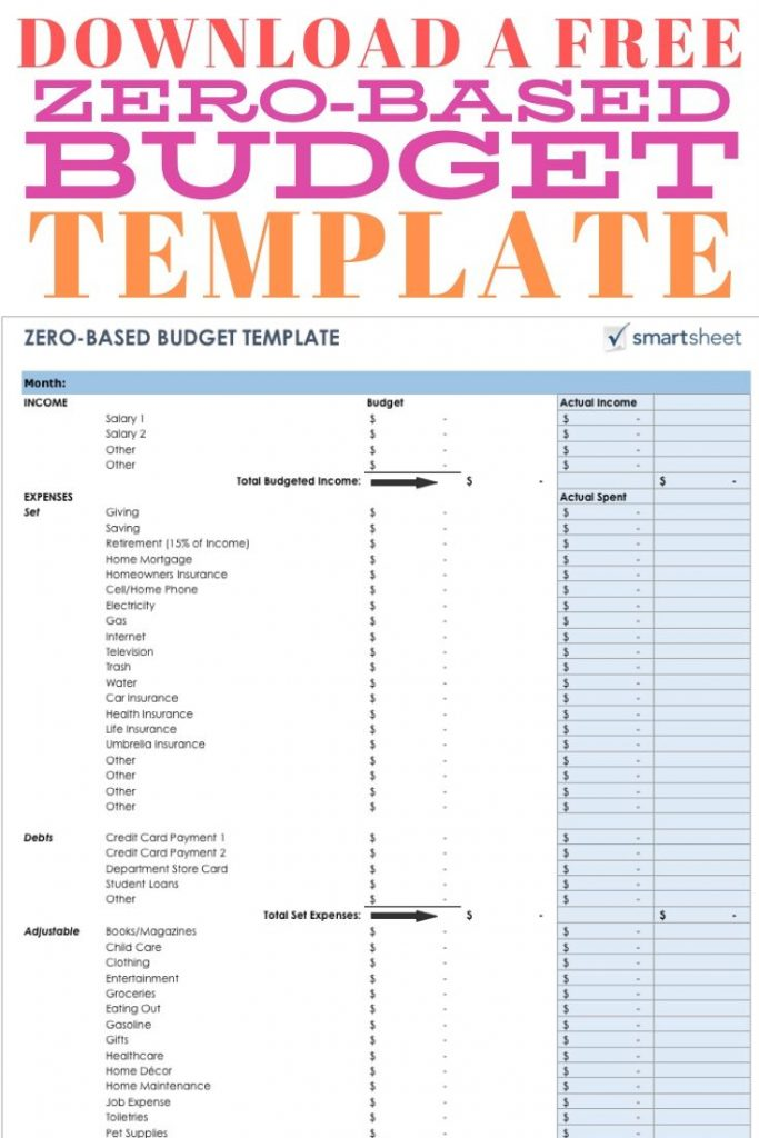 free zero based budget template