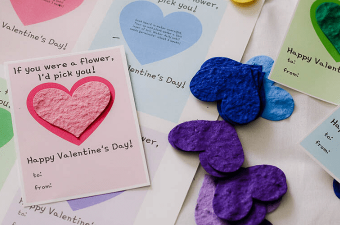 Valentine's day printables seed paper