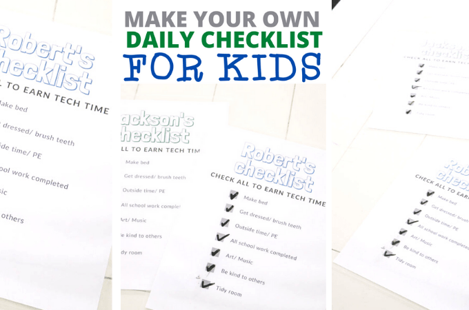 DIY daily checklist for kids routine printable