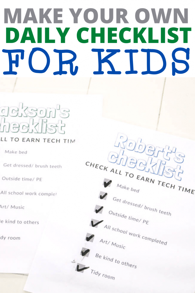 How to make your own daily checklist for kids